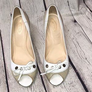 "Tod's Heels Size 8 White and Tan 3"" heel"